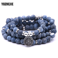 YUZHEJIE Fashion Women S Matte Amazonite 108 Mala Beads Bracelet Or Necklace High Quality Lotus Charm