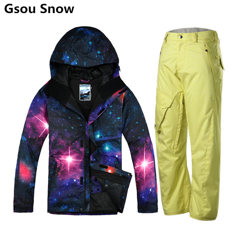 Gsou Snow brand mens ski jacket and pants snowboard jacket men winter ski suit men chaqueta esqui hombre mountain skiing wear brand gsou snow technology fabrics women ski suit snowboarding ski jacket women skiing jacket suit jaquetas feminina girls ski