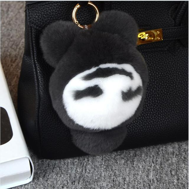 50% 17cm Real fur monster key chain black pom pom fluffy bugs bag charms leather keychains Mini animal Shoulders keychain ring