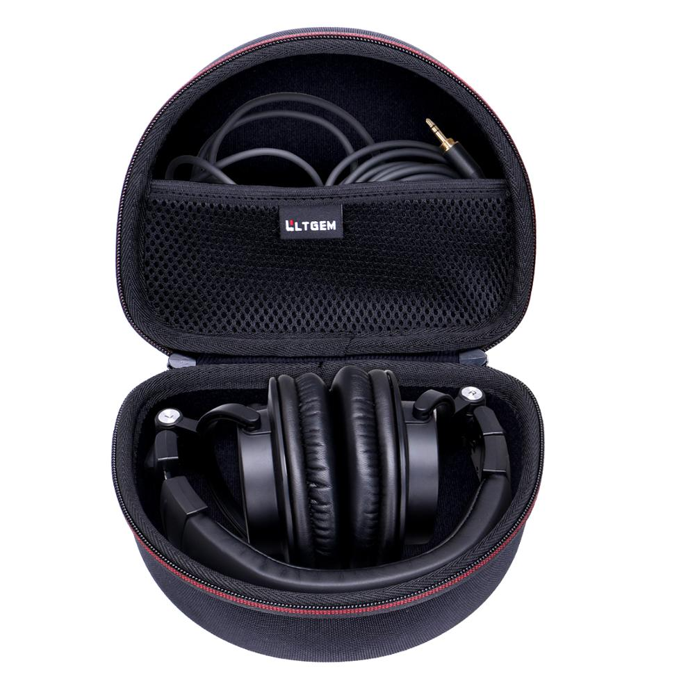 LTGEM EVA Black Hard Carrying Case For Audio-Technica ATH-M50x/M50/M70X/M40x/M30x/M50xMG Professional Studio Monitor Headphones