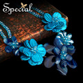 Special New Fashion Natural Agate Stone Necklaces Crystal Blue Flowers Pendants Jewelry For Women Free Shipping XL141149