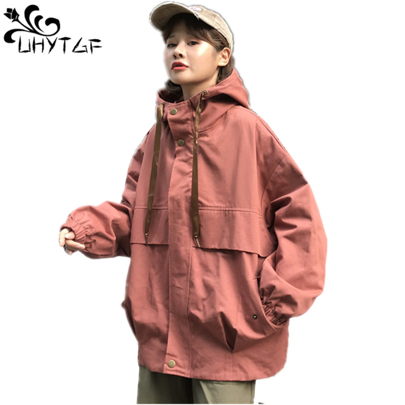 UHYTGF Women   Basic     Jackets   Plus size Loose Hooded coats tops Spring Autumn splice   Jacket   Female Casual Long Sleeves Coats X265