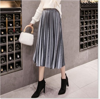2019 Autumn Winter Velvet Skirt High Waisted Skinny Large Swing Long Pleated Skirts Metallic Plus Size Saia 1