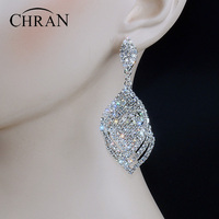 New Arrival Sparkling Crystal Rhinestone 3 2inch Long Drop Earrings Silver Diamante Women Bridal Bridesmaid Wedding