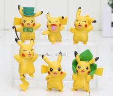 6pcs/set 4-5cm pikachu figure Pikachu PVC Action Figure Model Toys Doll children gift