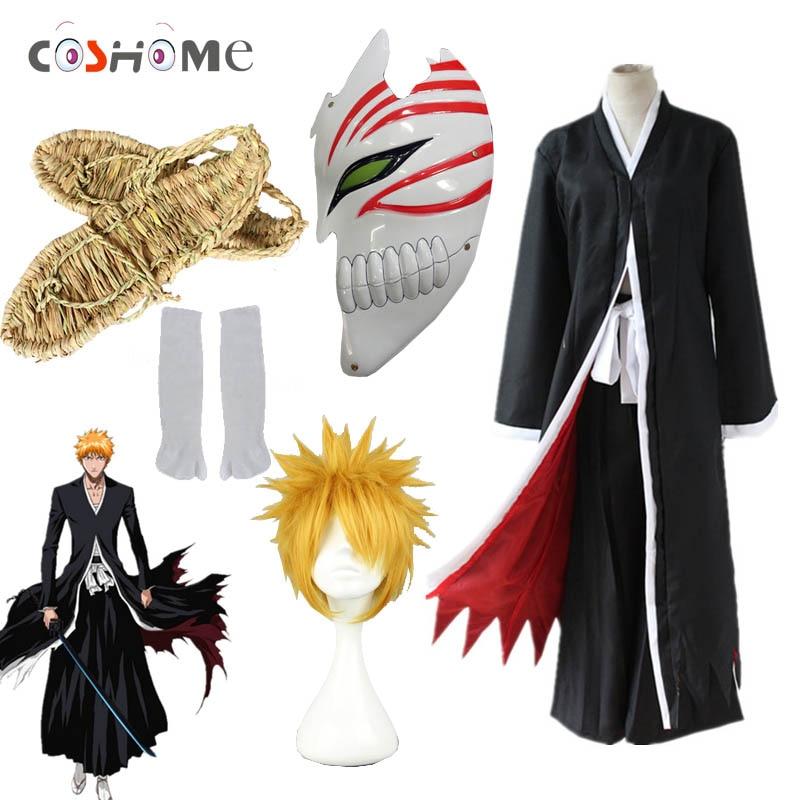 Coshome Bleach Cosplay Costumes Ichigo Kurosaki Wigs Ichigo Men Black Cloak With Straw Sandals Scoks Masks Tops And Pants Set