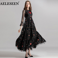 AELESEEN Luxury Long Women Dresses 2018 Autumn Fashion Full Flare Sleeve Hollow Out Dress Star Embroidery Heart Beading Dress