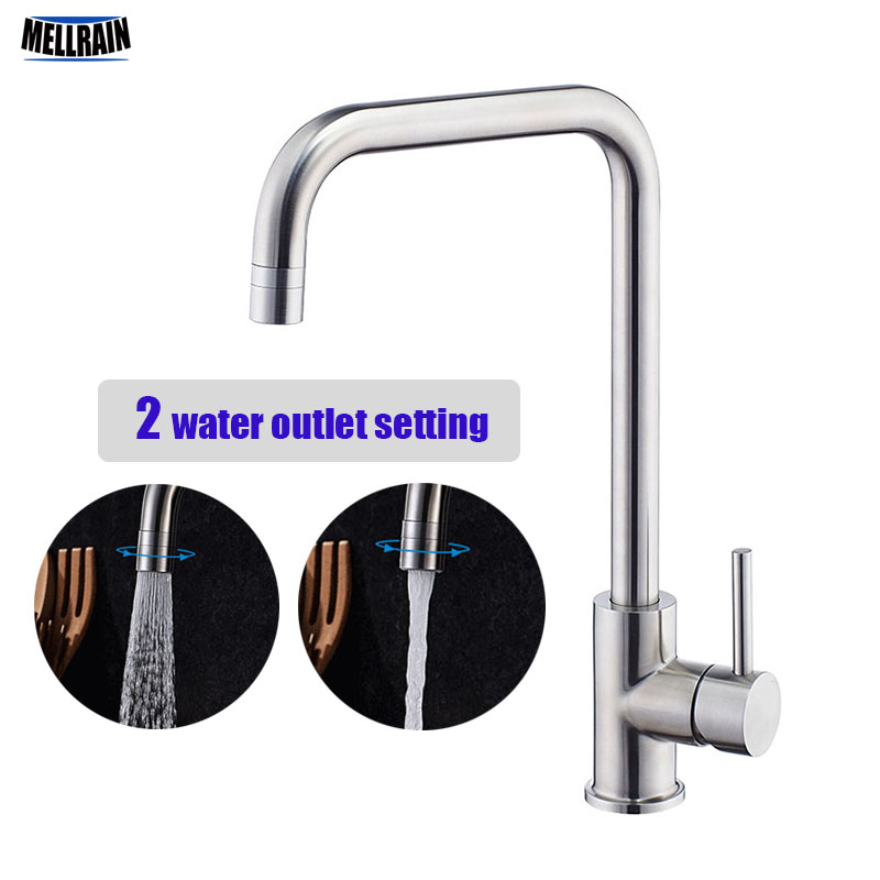Double Water Setting Kitchen Faucet Quality Stainless Steel Sink Mixer Rotatable Water Tap Easy Switch double bowl stainless steel kitchen sink with faucet tap evier fregadero de la cocina disipador lavello della cucina spoelbak ke