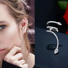 Personality Cute Snake Stud Earrings For Women White Zircon