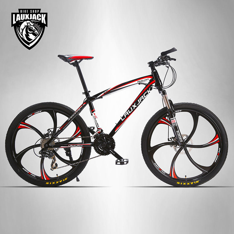 LAUXJACK Mountain Bike Steel Frame 24 Speed Shimano Mechanic Brake 26 Alloy Wheel 26 32 holes disc brake mountain bike wheel alloy cassette ball hubs wheel suitable for 7 8 9 speed mountain bike accessories