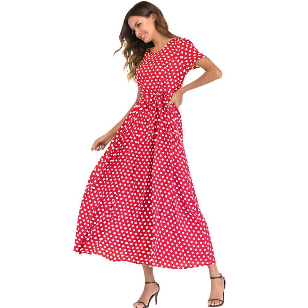 e880f3daa613 Anself XXXL 4XL 5XL Plus Size Vestido de Moda Feminina de Bolinhas verão  Vestido Longo Vestido