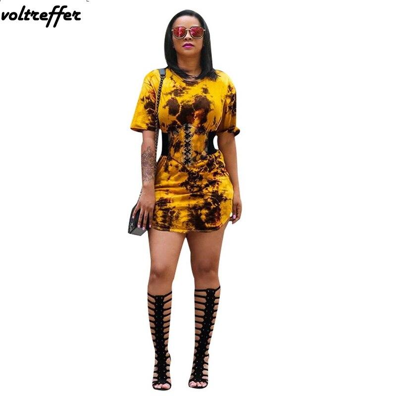 Tye Dye Print Tshirt Dress Summer 2018 Style Roupas Femininas Ropa Mujer Pinup Casual Mini Short Sleeve Robe Femme Sexy Ribbons
