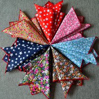 8 PCS 10 Classic Man Floral Flower Star Cotton Pocket Square Handkerchief Hanky WHSYX0006