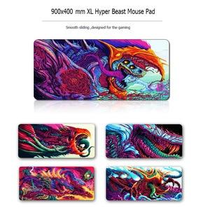 Image 2 - Игровой коврик для мыши 900x400 мм Hyper Beast XL с большим фиксирующим краем, резиновый коврик для мыши с клавиатурой CS GO, подставка под запястье, Настольный коврик для компьютера