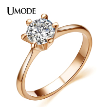 UMODE Engagement Wedding Rings Hot Selling Rose Gold Hearts Arrows AAA CZ Anillos For Women Jewelry
