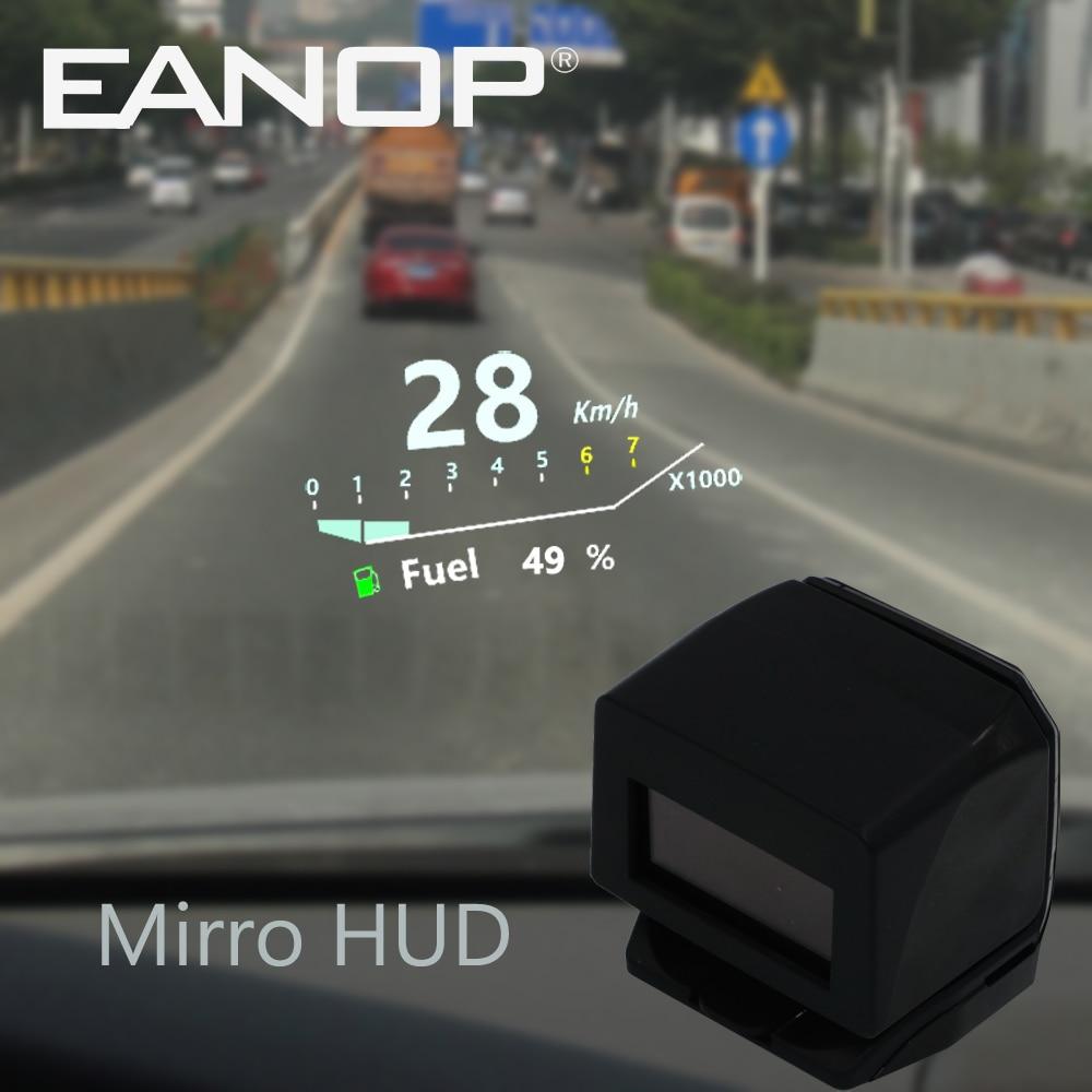 Eanop led mirror hud car hud head up display hud projector obd 2 speed monitor alarm