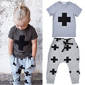 2017 summer kids clothing sets Cartoon cross pattern Short sleeve T-shirts Printed Pants boys casual Suits Childrens Sets Boys