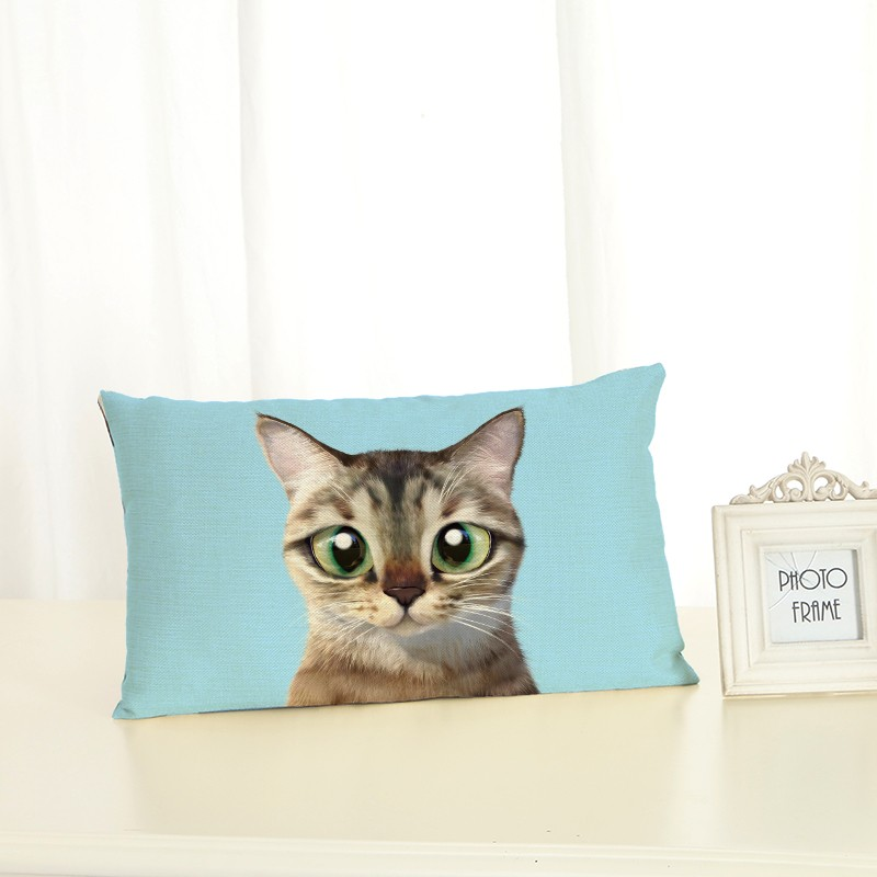 High Quality Cat Housewear Lumbar <font><b>pillow</b></font> Chair Cushion Cover Soft <font><b>Pillow</b></font> <font><b>Case</b></font> Cojines Almofadas Cotton Linen Square <font><b>30x50</b></font> image