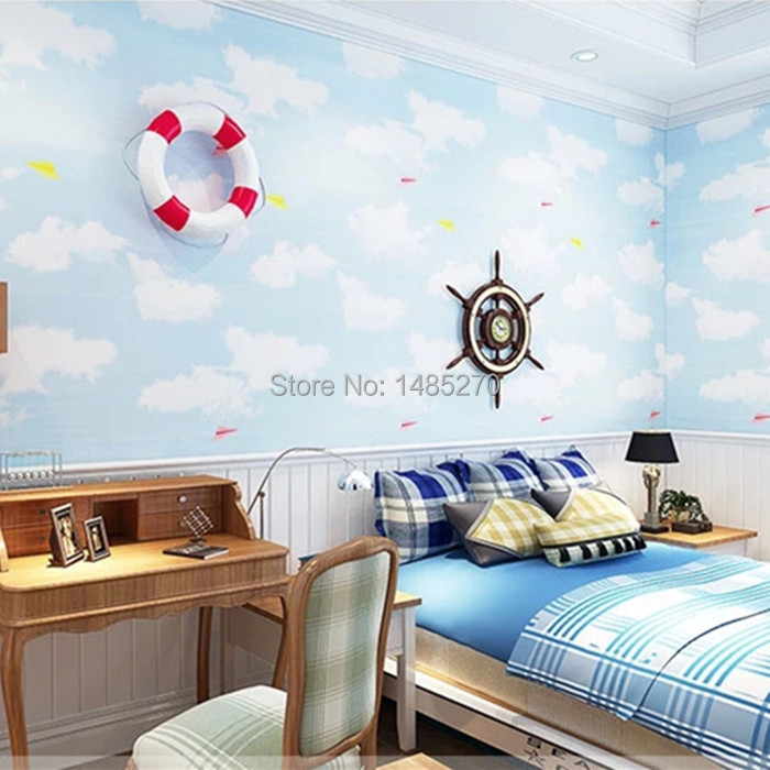 Blue Bedroom Boys Bedroom Modern Design Apartment With Loft Bedroom Blinds For Bedroom: Fashion Cartoon Wallpaper For Kids Blue Sky White Cloud