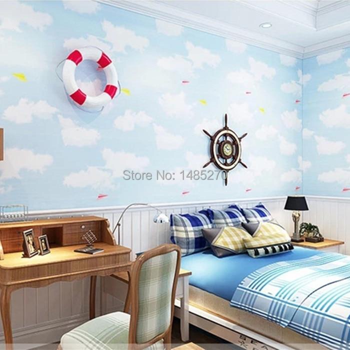 Fashion Cartoon Wallpaper For Kids Blue Sky White Cloud
