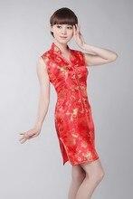 Chinese Traditional  Red Dress Womens Silk Satin Mini Cheongsam Size: S-3XL