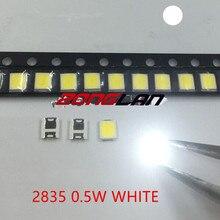 2835 Светодиодный 0,5 Вт белый SMD/SMT PLCC-2 2835 белый 150Ma 50-65lm 6000-6500K 3528 диоды высокой мощности Светодиодный ультра яркий SMD светодиодный 100 шт