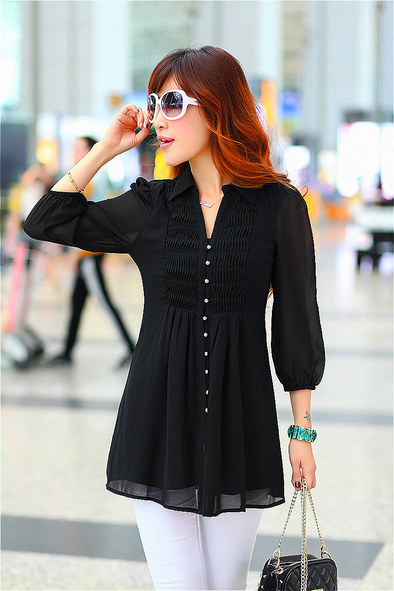 c04c6ad4878 black chiffon blouse tunic oversized shirts 6xl 5xl 4xl xxxxl big size xxxl  korean see through black long tunic tops for women