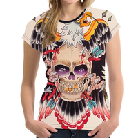 FORUDESIGNS Tshirt Women Female Clothes Skeleton 3D Print Punk Game Of Thrones Shirt For Ladies Poleras