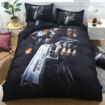 3d printing skull head 1pc duvet cover&2pcs pillow cases home textile black toy gun shooter pirate bedding set free shipping SM