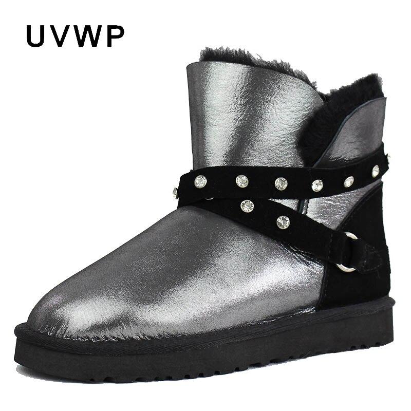 新しい本物の羊の革雪のブーツ女性のための 100% 天然の毛皮本物のウールインサイド女性の冬暖かいブーツファッション足首ブーツ  グループ上の 靴 からの アンクルブーツ の中 1