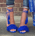 Brand Tassel Fringe Suede Women Sandals Lace Up Ankle Strappy High Heels Prom Wedding Shoes Woman Sandalias Mujer