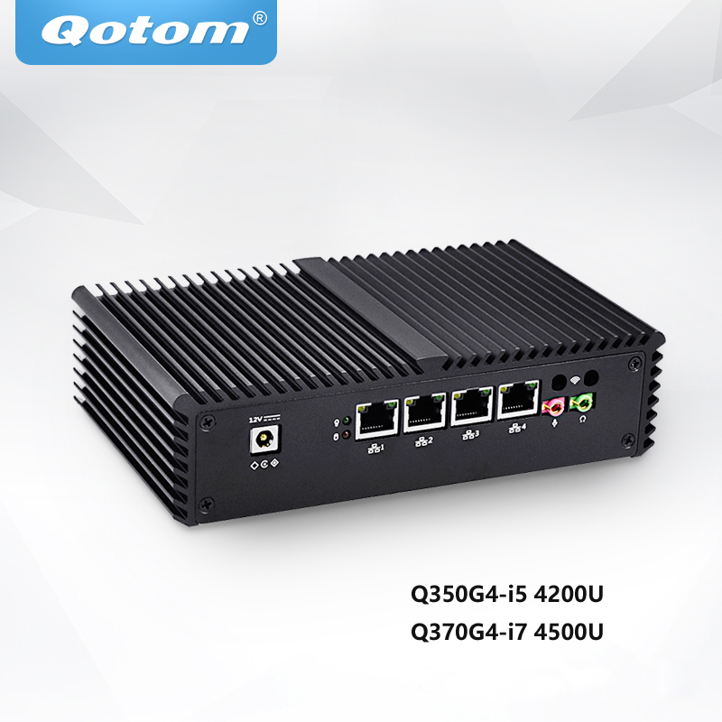 Qotom Mini PC Core i5 i7 with 4 Gigabit LAN ,Support AES-NI Pfsense Router Firewall Industrial Computer Fanless PC Q350G4 1pc vacuum cleaner hepa filter replacement for media sc861 sc861a vacuum cleaning robots spare parts accessories