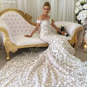 Image 2 - Chengjun Marfim Flor Muito Bonita Da Sereia Fora Do Ombro Do Vestido de Casamento de Luxo