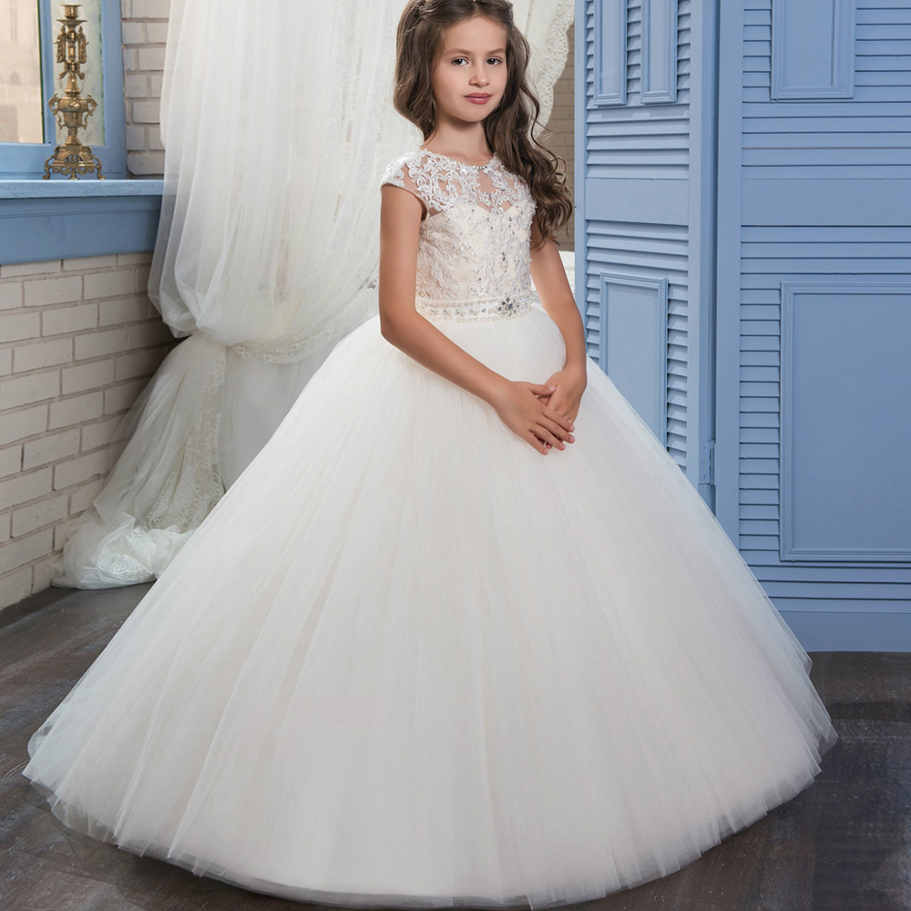 New Arrival   Flower     Girl     Dresses   White Ivory O-neck Beading Ball Gown Sleeveless Lace Appliques First Communion Gown Custom Hot