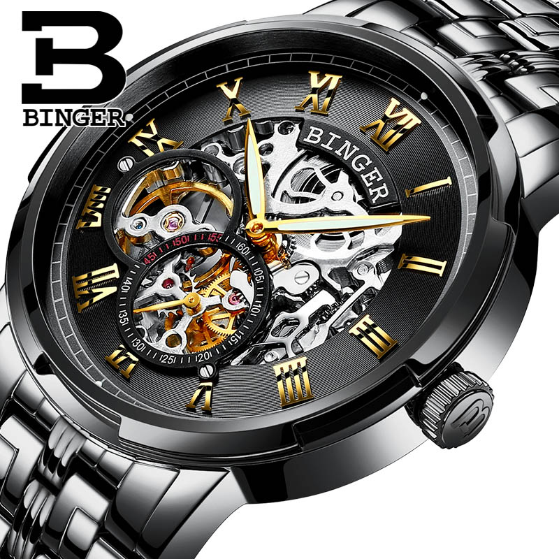 Luxury Watch Men Casual Mechanical Wristwatches BINGER Luminous Automatic self-wind skeleton Full Black Steel 30 m waterproof ultra luxury 2 3 5 modes german motor watch winder white color wooden black pu leater inside automatic watch winder