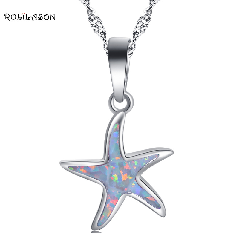 ROLILASON Beautiful stars design for Women White fire opal Sterling silver Necklace Pendant Fashion Jewelry wedding gift OP783