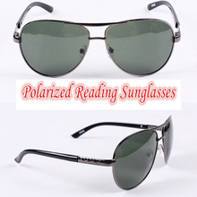 !!!Polarized reading sunglasses!!!  pilot Polarized square large frame mens sunglasses with test card +1.0 +1.5 +2.0 +2.5 to +4