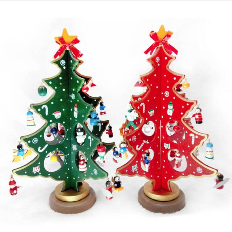 2020 3 Size Christmas Decoration Tree Wooden Santa Claus Gift For Kids And Children DIY Christmas Toys With Hanging Pendant