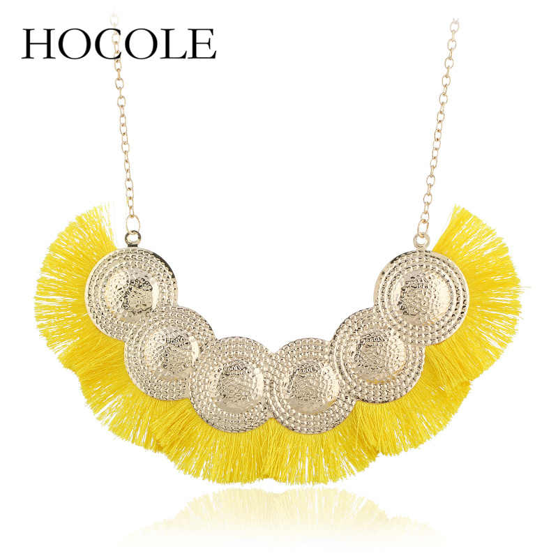 HOCOLE Bohemia Red Yellow Black Long Tassel Necklace For Women Fan Shape Necklace Maxi Statement Fashion Jewelry Boho Necklace
