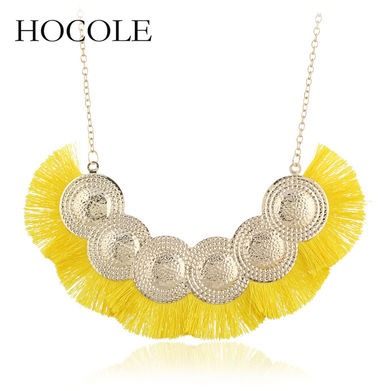 HOCOLE Bohemia Red Yellow Black Long Tassel Necklace For Women <font><b>Fan</b></font> Shape Necklace Maxi Statement Fashion <font><b>Jewelry</b></font> Boho Necklace image
