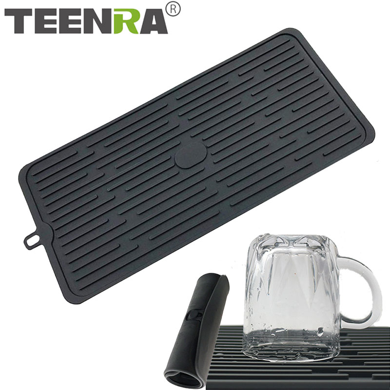 US $10.96 40% OFF|TEENRA Large Silicone Dish Drying Mat Heating kitchen  Drain Mat Silicone Table Placemat Deep Grooves Cup Drying Mat Tableware-in  ...