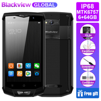 Blackview BV8000 Pro Mobile Phone IP68 Waterproof Android 7.0 5.0FHD MTK6757 Octa Core 6GB+64GB 16MP Side Touch NFC Smartphone
