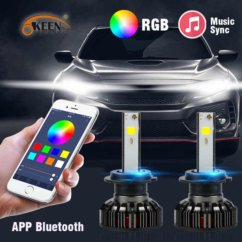 OKEEN 2x Car RGB LED Headlight H1 H3 H4 H7 H8 H11 9005 9006 H13 9012 5202 LED Bulbs APP Bluetooth Control Multi-color 50W 7600LM