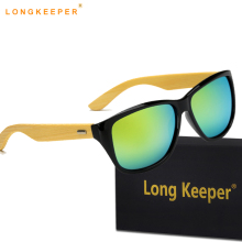 LongKeeper Vintage Unisex Bamboo Wood Sunglasses Women men Brand Designer Rivet Sun Glasses men gafas de sol mujer With Case
