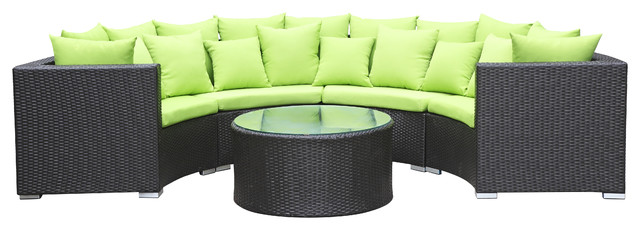 2017 Hot Selling Outdoor Rattan Furniture Wicker Patio Half Round Sofa Set China