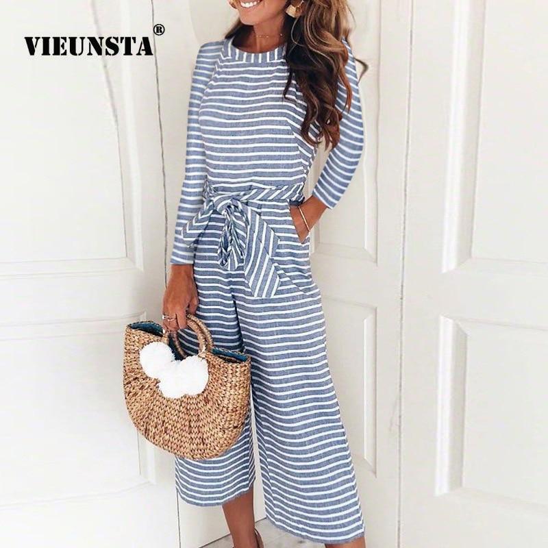 VIEUNSTA Autumn Long Sleeve Elegant Striped Jumpsuits Women Loose Trousers Wide Leg Pants Rompers Sexy Office Lady Jumpsuit Belt