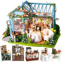 Casa de muñecas CUTEBEE DIY Casa de muñecas de madera Casa de muñecas miniatura Casa de muebles Kit de música Led juguetes para niños Regalo de Cumpleaños A68B