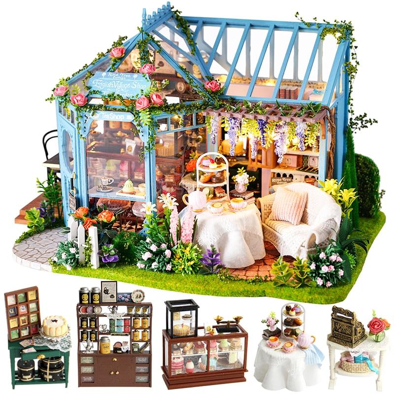CUTEBEE DIY кукольный домик деревянные кукольные домики Миниатюрный Кукольный дом набор мебели Каса музыка светодиодные игрушки для детей подарок на день рождения A68B