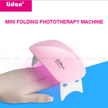 Lidan sol mini 6w dobrável 2 engrenagem cronometragem 6 lampara cabine uv led gel luzes mouse luz do prego compacto(China)
