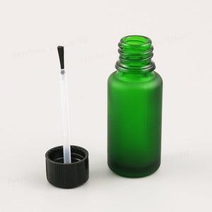 Image 5 - 10ML 15ml 20ml 30ml 50ml 100ml Refillable Frost Green Glass Essential Oil Bottle With Brush Cap 1oz 1/2oz 5/3OZ NaiPolish Bottle